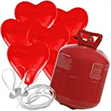 50 Herz Luftballons freie Farbwahl mit Helium Ballon Gas Hochzeit Valentinstag Komplettset (Rot)