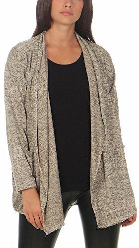 malito Damen Strickjacke in verschiedenen Formen und Farben | Strick Cardigan | Jacke im Oversize Look �?Umhang 7331 Beige-Meliert