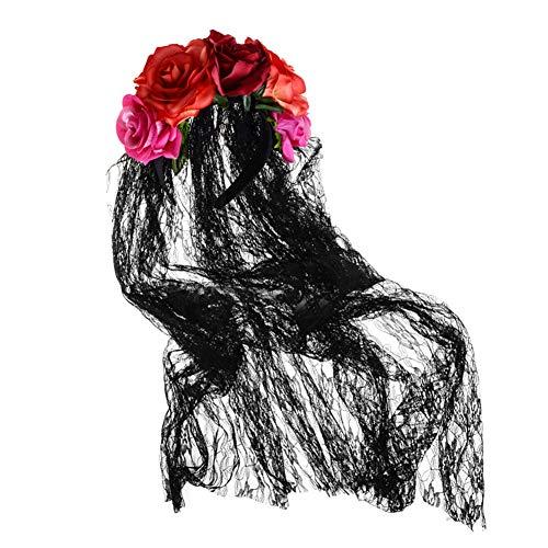 1PC Rose Blumen Krone Schleier Halloween-Kostüm Mexikanische Stirnband Halloween Rose Haar-Zusätze Für Partei Cosplay Prop