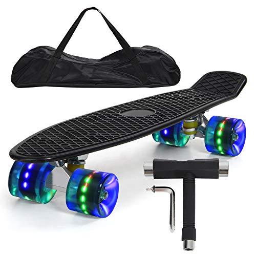 """Feldus 22\"""" Retro Skateboard Komplett Fertig Montiert mit Tasche und T-Tool (Deck Schwarz/ LED Räder in Blau)"""