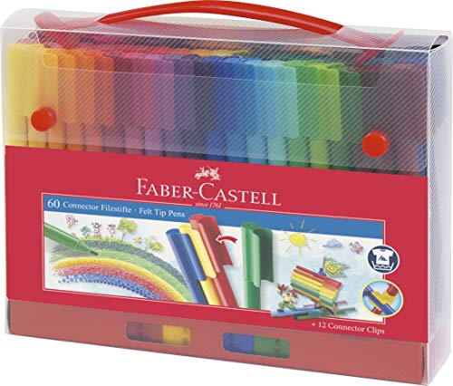 Faber-Castell 155560 Filzstift Connector in Koffer, 60-teilig