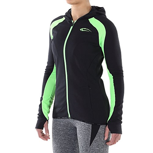 SMILODOX Laufjacke Damen | Zip Hoodie für Sport Fitness Training & Freizeit | Trainingsjacke - Sportpullover - Kapuzenpullover - Kapuzenpulli mit Reißverschluss, Größe:M, Farbe:Black / Green