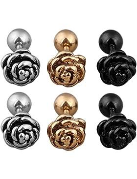 Vococal 3 Paare 3 Farbe Titan Steel Rose Blume Ohrringe Hypoallergen Piercing Ohrstecker Set 7,5mm Durchmesser