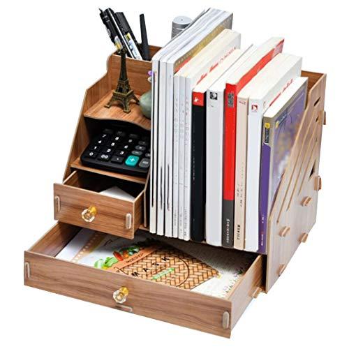 RENLEINB Bücherregal - Desktop-Aufbewahrungsbox Multi-Layer-Schublade Ordner Holzablage Schreibtischablage Ablagefläche (Datei Schublade Bücherregal)