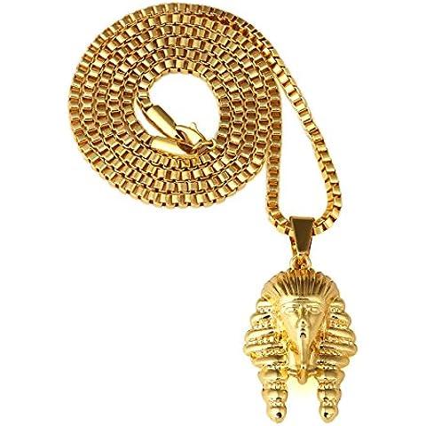 Nyuk para hombre Hip Hop 18K real chapado en oro colgante collar rey faraón Popular cadena