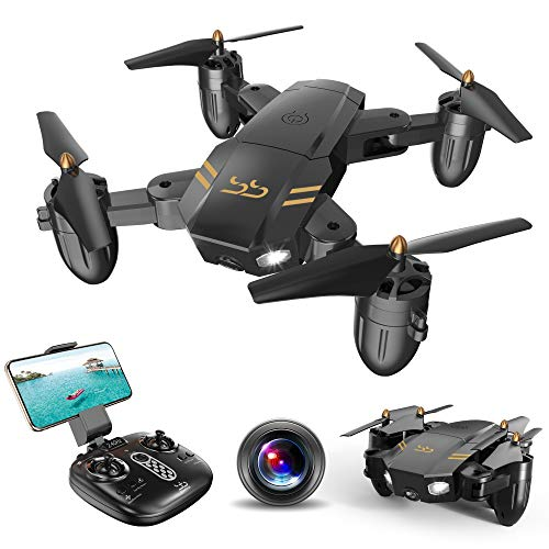 ScharkSpark Drohne Guard für Anfänger, Drohne mit FPV HD Kamera/Video, Tragbarer RC-Quadcopter, 2,4 G 6-Achsen Kopflos-Modus Höhe halten Ein-Tasten-Rückkehr 3D-Flips und Rollen Spielzeug -
