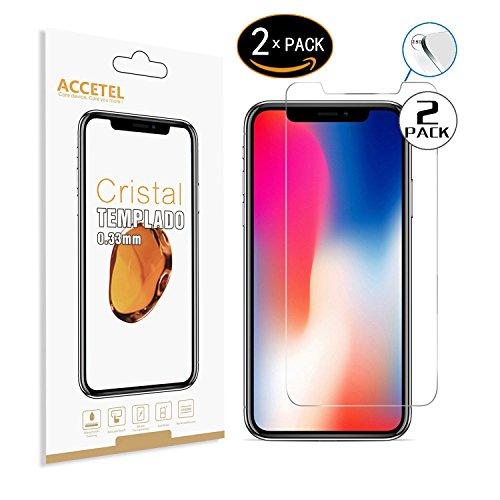 RE3O Apple iPhone X/iPhone XS Protector Cristal Templado 2 x Protector de Pantalla Vidrio Templado para Apple iPhone X/iPhone XS 5,8'' Pulgadas