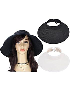 Paquete de 2 sombreros enrollable de sol sombrero de playa con ala ancha de mujeres sombrero visera