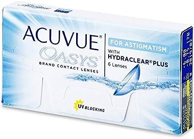 Acuvue Oasys for Astigmatism Lentes de Contacto Tóricas Quincenales, R 8.6, D 14.5, 1.5 Dioptrías, Cilindro -2.75, Eje 160 - 6 Lentillas