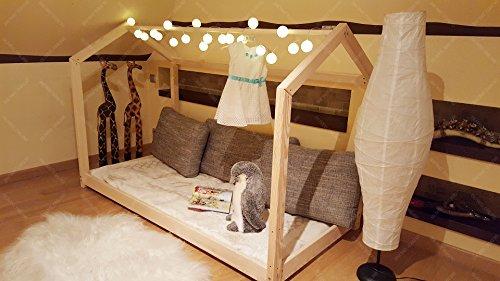 Elegante Kinderbett (HAUSBETT KINDERHAUS Bett für Kinder,Kinderbett Spielbett mit SICHERHEITBARRIEREN, Barriers: Without, 200 x 120 cm)