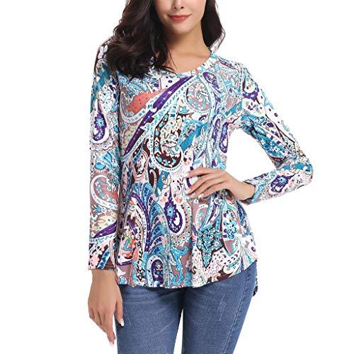 ❤Loveso❤ Damen V-Ausschnitt Geripptes Drucken Sleeve Casual Falten Lange Ärmel T-Shirt mit Stretch Top