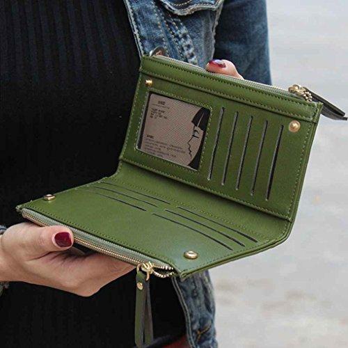 Miaomiao Borsa lunga della frizione della grata delle donne con il portafoglio in rilievo del portafoglio del portafoglio Doppio portachiavi della chiusura lampo Rosa rossa