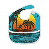 Best California Baby Gifts For Boys - California Coconut Tree Sunset Waterproof Baby Bibs Washable Review