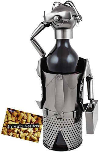 Brubaker–Soporte de botella de vino botella soporte Muñeco de negocios–Objeto de metal con tarjeta de felicitación para vino regalo