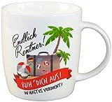 Lustige Tasse aus Porzellan mit Spruch als kleines Geschenk für Rentner zum Eintritt in die Rente und den Ruhestand. Witziges Abschiedsgeschenk zur Erinnerung von Arbeitskollegen und Freunden.