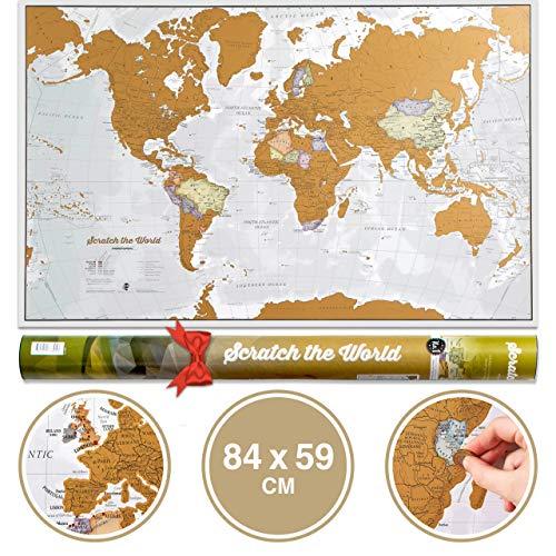 Scratch the World poster mappa del mondo - da grattare via i posti in cui viaggi - i migliori dettagli cartografici - Idee regalo - 84 x 59 cm