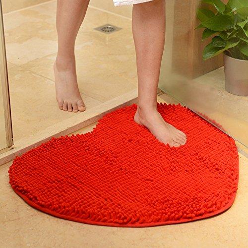 Aik@ creativo facile da pulire antisdrucciolo zerbini,peluche tappeti piccola stuoia moderna tappeti ingresso bagno camera da letto-rosso 60x70cm(24x28inch)