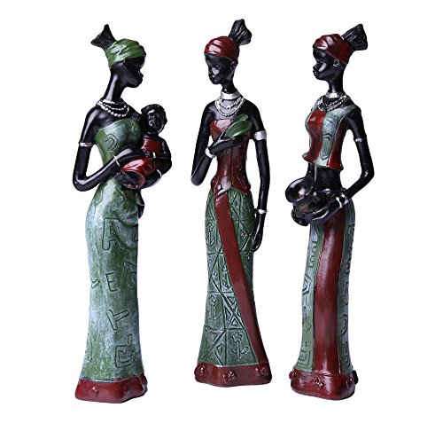 African Greencherry Girl - Exotic Woman Sculpture Tribal Lady Figure Statue Decoration Collection Pack of 3