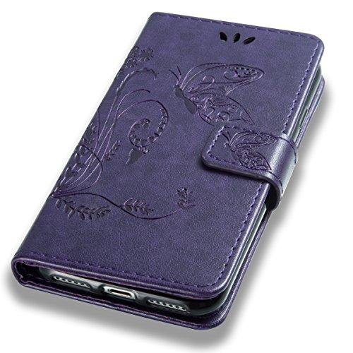 EUWLY Custodia Cover per iPhone 7/iPhone 8 (4.7), EUWLY Luxury Puro Colore Cover Case in PU Leather per [iPhone 7/iPhone 8 (4.7)] Modello Goffratura Fiore Farfalla Design Bumper Portafoglio Custodia Butterfly,Viola