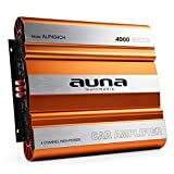 auna ALP404CH • Car HiFi Verstärker • 4-Kanal Auto-Endstufe • Car Amplifier • MOSFET • brückbar • 4/3/2-Kanal Betrieb • 4000 Watt Peak-Leistung • Hoch- / Tiefpassfilter • zuschaltbarer Super Bass • separate Crossover mit jedem Kanal • Aluminium • orange