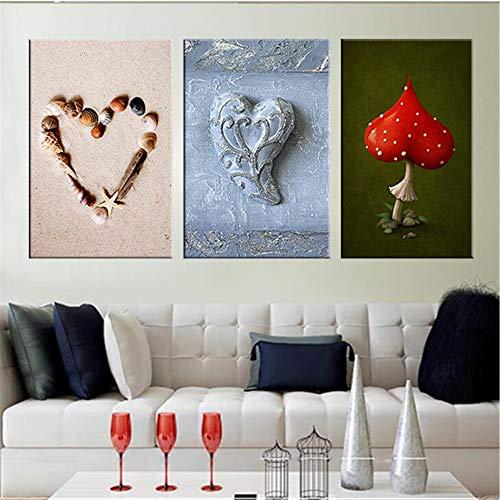 Herz Form Shell Wand Bilder moderne Leinwand Malerei rot Pilz Stillleben einzigartige Hochzeit Hochzeit Hochzeit Zimmer Zimmer Decora die Aktion -