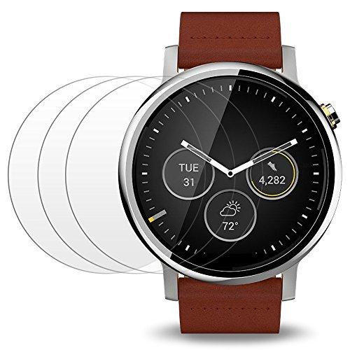 Pellicola Protettiva per Motorola Moto 360 2a/1a Generazione 46mm Smartwatch, AFUNTA 3 Pack Vetro Temperato Protezione Anti-graffio ad alta Definizione Proteggi Schermo Trasparente
