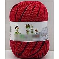 HuaYang Couleur mélangé fil à tricoter laine cosy fil de laine pour tricoter à la main(1Pcs: Rouge_Noir)