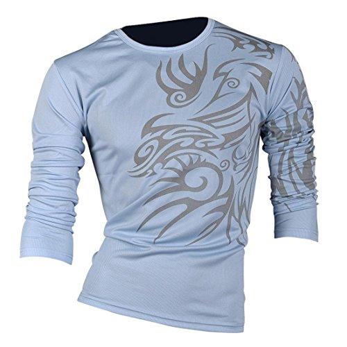 jeansian Herren Freizeit Hemden Shirt Tops Mode Langarmshirts Slim Fit U004 LighBlue