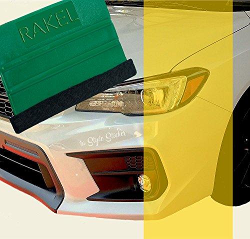 1A Style Sticker Scheinwerfer Folie, Nebelscheinwerfer Gelb 200 cm x 30 cm + Verkleberakel mit Filz, KFZ, Tuning Folie