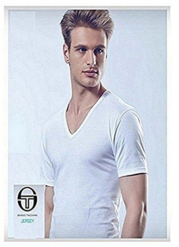 Sergio tacchini pack 6 t-shirt cotone bianco/assortito art.530 (bianco scollo v. - 5 / l)