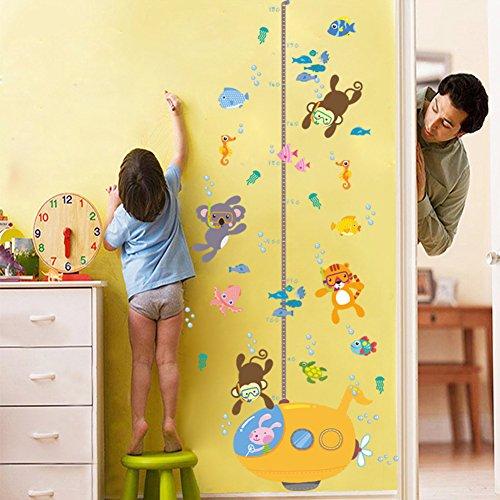 Preisvergleich Produktbild ElecMotive Abnehmbare Messlatte Körpergröße Messen Wandsticker für Kinderzimmer in Geschenkkarton verpackt (U-Boot)