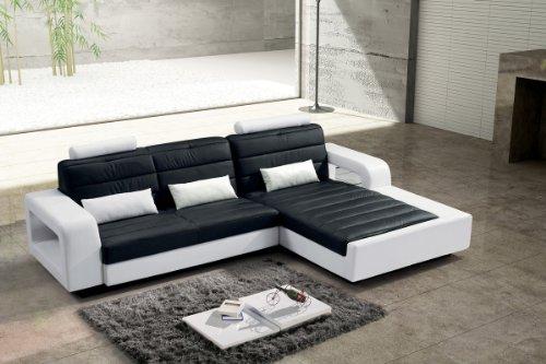 SAM Design Ecksofa New York in schwarz & weiß, bequeme Polsterung, pflegeleicht, futuristisches Design