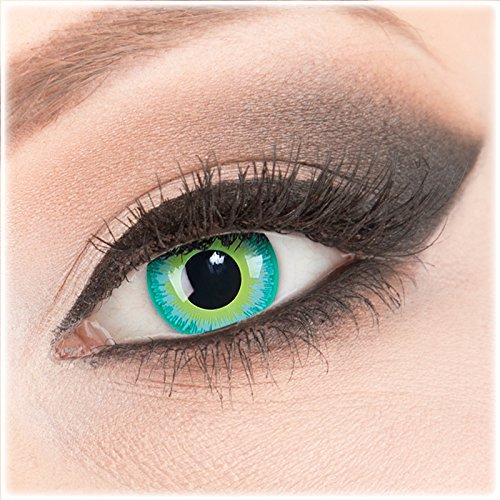 Farbige grüne Crazy Fun Kontaktlinsen 1 Paar 'Green Elf' mit Behälter - Topqualität von 'Evil Lens' zu Fasching Karneval Halloween ohne Stärke