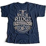 9131n Rock Ridge Saloon Herren T-Shirt Western Blazing Sheriff Wild West Saddles Ride Mongo Cowboy Desert Pawn(Medium,Navy)