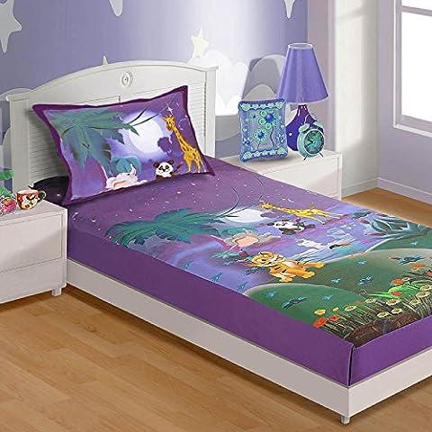 Chambre d'enfant Décorations, Ensemble de literie, Drap et taie d'oreiller, Digital Print, Moonlight Animal World