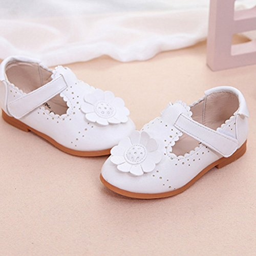 Zhhlaixing Baby Flower Shoes Toddler Casual Shoes Soft PU Leather Baby shoes White