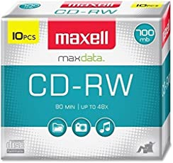 Maxell MAX630011 Premium Quality Recording and Re-Recording 4x CD-RW Media 52x Write Speed 700mb of Data or 80 Mins Per Disck