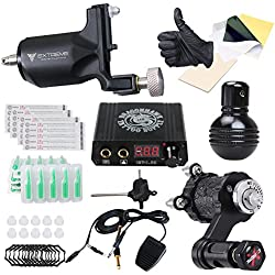 Dragonhawk Extreme V2 Tattoo Kit 2 Rotary Machines Motor Gun Power Supply Disposable Needles Tips for Tattoo Artist MDJT-1