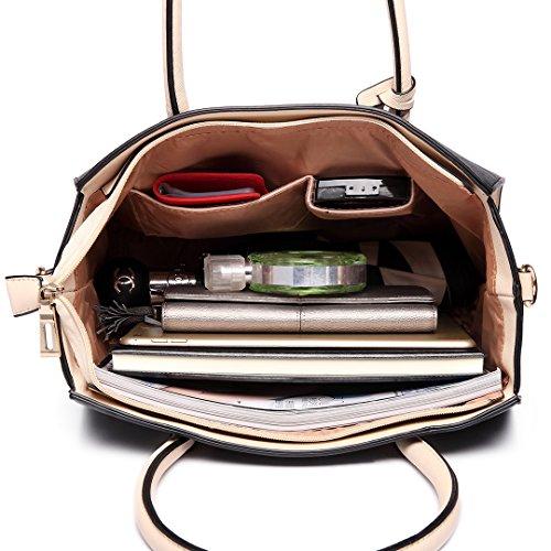 Miss Lulu Damen Klassische Handtasche Winged Schultertasche Groß Umhängetasche Taschen 6627 Black/Beige