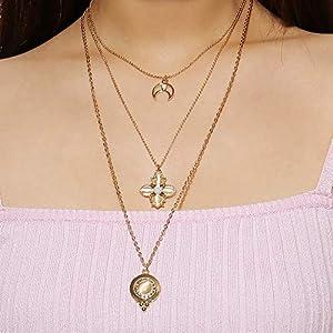 XUHAHAXL Halskette/Accessoires, Retro, Einfach, Multi-Element, Wilde Schmuck, Diamant-Halskette, Multi-Layer-Gezeiten-Halskette.