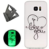 Samsung Galaxy S7 Edge Case, Keyye Gel TPU Silicone Cover [Free Black Kickstand] Anti-dust Soft Scrub Transparent Fluorescent Green Luminous Printing Effect Protective Skin-Love You
