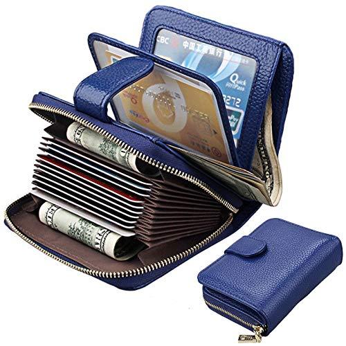 amen Leder klein Geldbeutel Frauen Portemonnaie Brieftasche mit RFID Schutz Kreditkartenetui Wallets mit Reißverschluss-Blau ()