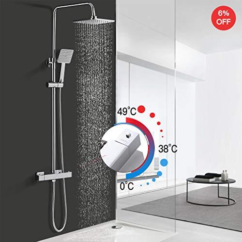 Duschsystem mit Thermostat, WOOHSE Duschset Regendusche Duscharmatur, Brauseset mit Thermostatarmatur, verstellbarer Duschstange, Dusche Duschsäule Set für Badezimmer, Lebenslange Garantie
