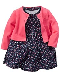 Carter Baby Girls Cardigan Dress Set (9 Months, Floral)