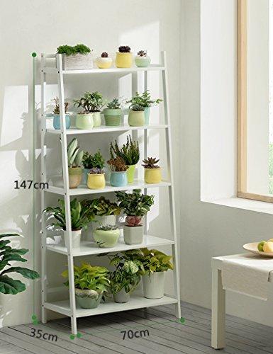 ZCJB Etagères de plantes Angle Droit Fleur Étagère Au Sol Solide Bois Intérieur Bambou Multi-couche Balcon Salon Pot Rack Scindapsus Fleur Étagère (Couleur : Blanc, taille : Height 147cm)