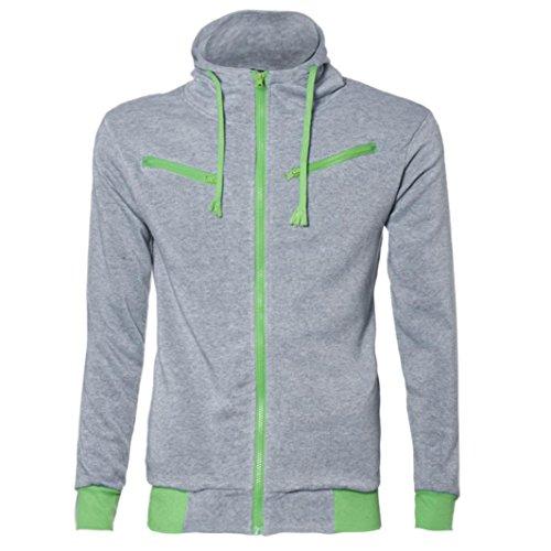 FEITONG TOP Detalles de los hombres del estilo adelgazan Sudadera con capucha de la cremallera Outwear la chaqueta de la capa del suéter (XL, gris