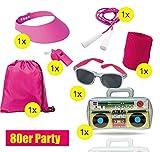 TK Gruppe Timo Klingler XXL Set 80 er 90 er Jahre Kostüm Outfit Bad Taste Assi Accessoires neon Set - mit Ghettoblaster, Schweißband, Springseil pink, UVM. Damen, Herren Fasching Karneval Kostüm