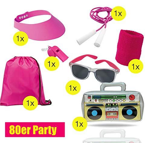 TK Gruppe Timo Klingler XXL Set 80 er 90 er Jahre Kostüm Outfit Bad Taste Assi Accessoires neon Set - mit Ghettoblaster, Schweißband, Springseil pink, UVM. Damen,...