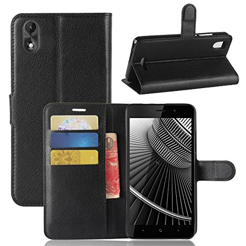 ECENCE Handy-Schutzhülle - Handytasche für Wiko Lenny 4 Plus Schwarz - Smarthone Case Cover stoßfest mit Kartenfach - Handycase mit Stand-Funktion 11020308