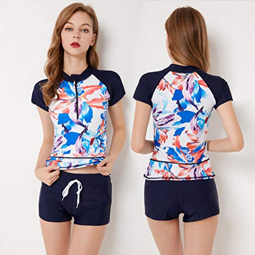CHONGLANGFU Badebekleidung Separate Female Surf Suit Kurzarm One Piece Rash Guard Short Frauen Schwimmen - Guard Frauen Für Rash Shorts